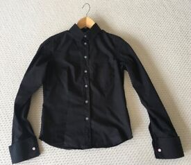 WHISTLES LADIES BLACK FITTED SHIRT SIZE 10