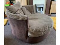 Two seater cuddle chair and pouffe