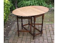 Small Folding Vintage Oval Oak Drop Leaf - Gate Leg - Dining - Kitchen Table - Can Deliver