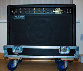 Guitar Amp: Mesa Boogie 50w Rectoverb valve amp with flight case