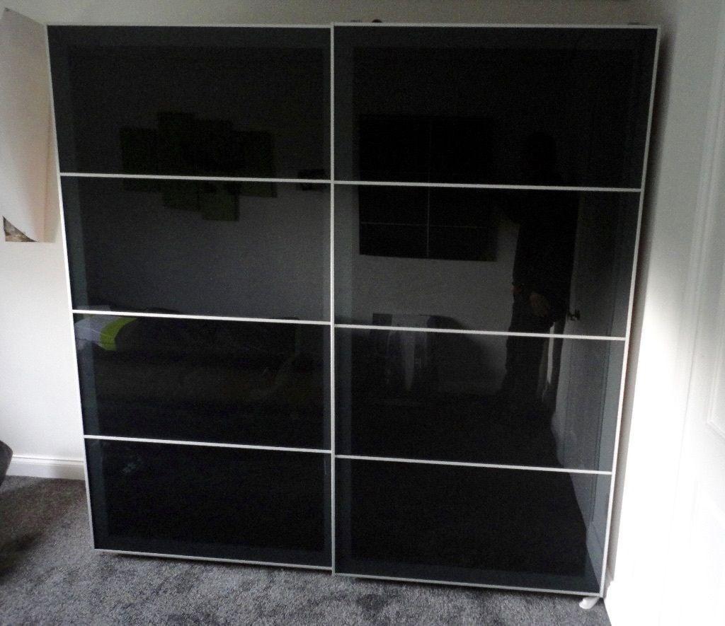 Of Ikea Hokksund Sliding SplottCardiff Gumtree Doors High Black Cm Gloss 200 236 Pair X £100In 35RLA4cjq