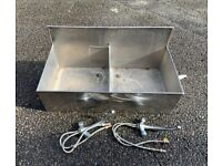 Large double stainless steel industrial sink