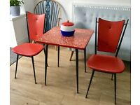 VINTAGE 1950s ATOMIC SPUTNIK DINING TABLE & CHAIRS, ATOMIC, RED, TUBULAR STEEL, MID CENTURY RETRO