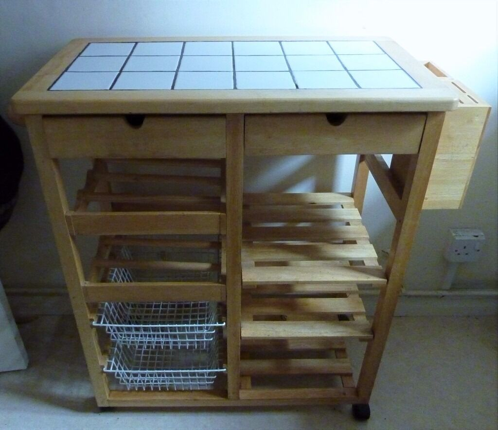 Roots Rack Kitchen Cart Pine: Pine Tile Top Kitchen Trolley With Wine Rack, Vegetable