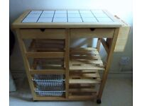 Pine tile top Kitchen Trolley with wine rack, vegetable storage