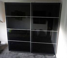 Ikea Pax Double Sliding Doors Black Glass 236cm x 200cm (JUST DOORS)