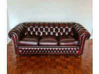 Amazing oxblood chesterfield leather sofa from dfs