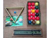6 ft x 3 ft snooker table, balls etc