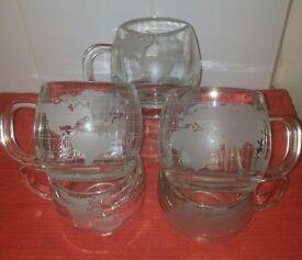 NESTLE NESCAFE ETCHED GLASS WORLD GLOBE MAP MUG/CUP