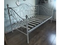 Day Bed Frame - White Metal - Victorian Style