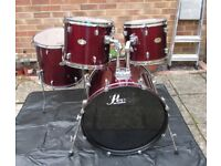 """PEARL FORUM FULL DRUM KIT 22"""" Bass Drum, 12"""", 13"""" & 16"""" Shell Pack with Snare Drum, Stands etc."""