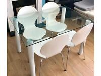 ~BNIB GLASS DINING TABLE & 4 WHITE CHAIRS~