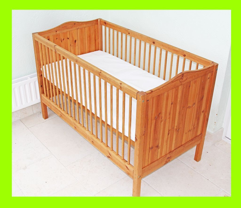 Lovely Thuka Pine Cot Bed With Nearly New Cosatto Mattress Cotbed Junior Toddler Bed In