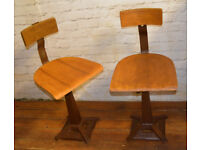 2 available Industrial Singer swivel office chair wooden desk kitchen factory metal vintage antique