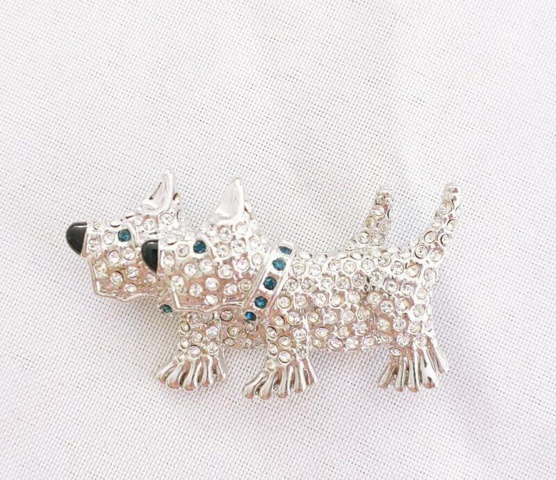 W) vintage RHINESTONE DOG Double 2 SCOTTIE SCOTTY TERRIER BROOCH PIN silver blue