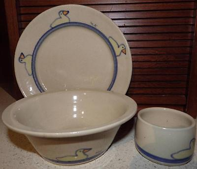 Seagrove Pottery KOVAK 3-Piece Childs Dinner Set Plate Bowl Cup Little Duckys