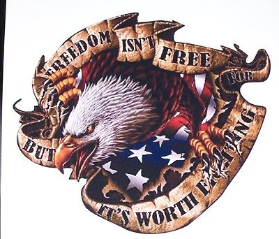 American Flag Eagle Freedom isnt Free Bed Side or Window Decal Decals Sticker