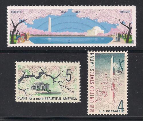 CHERRY BLOSSOMS - U.S. / JAPAN FRIENDSHIP - WASHINGTON DC - SET OF 4 U.S. STAMPS