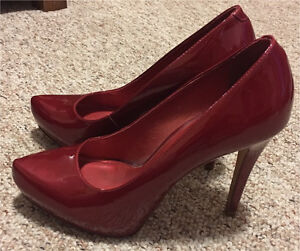 Aldo Shimmer Red Patent Leather Heels - Size 9