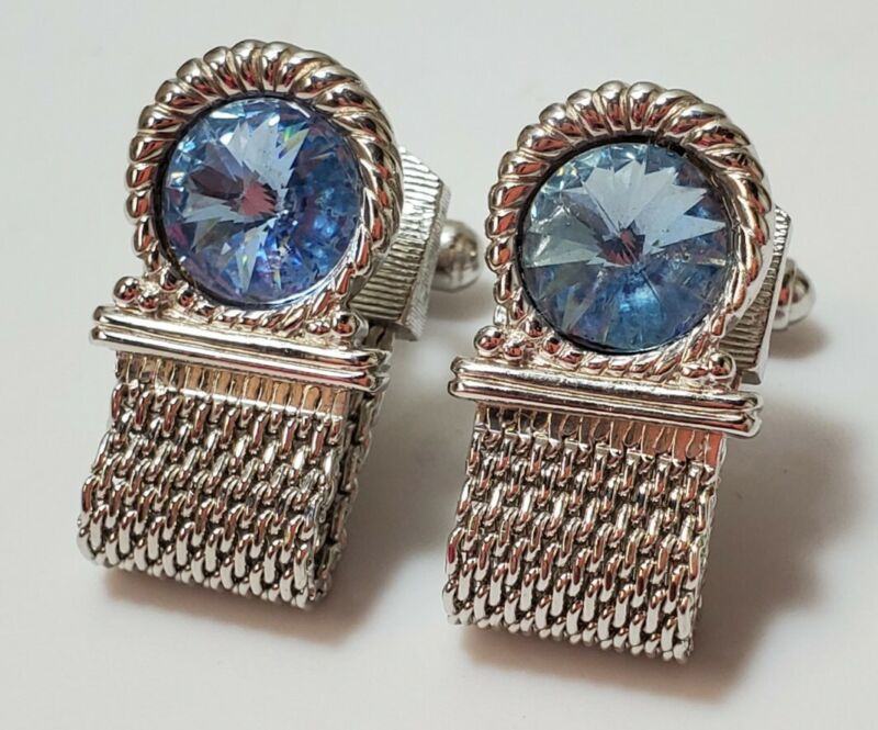 Vintage Signed Swank Silver Tone Blue  Rhinestone CUFFLINKS Retro Jewelry