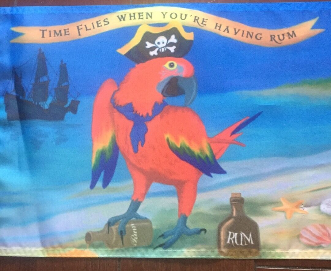 "Time flies When having rum parrot head 12 X 18"". Jimmy Buffett Fans Flag Boat"