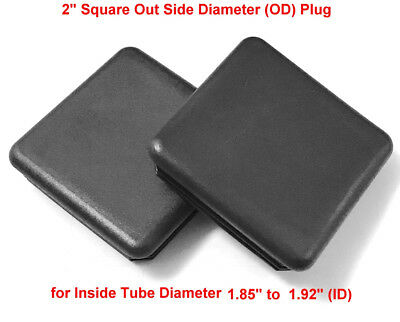 Pack Of 10 2 Square 14-20 Ga Black Plastic Tubing Plugs - End Caps