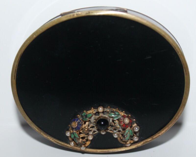 Vintage Compact Vanity Double Vanity Case Bill Bliss Black Enamel