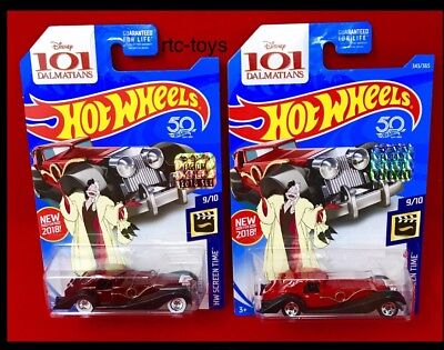 Hot Wheels Super Treasure Hunt Cruella De Vil 2018 With Factory Set Sticker 50th