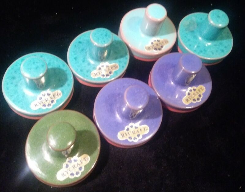 """RyCraft Cookie Stamp Lot Of 7 2"""" Round Butter Press Terracotta Vintage See pics"""