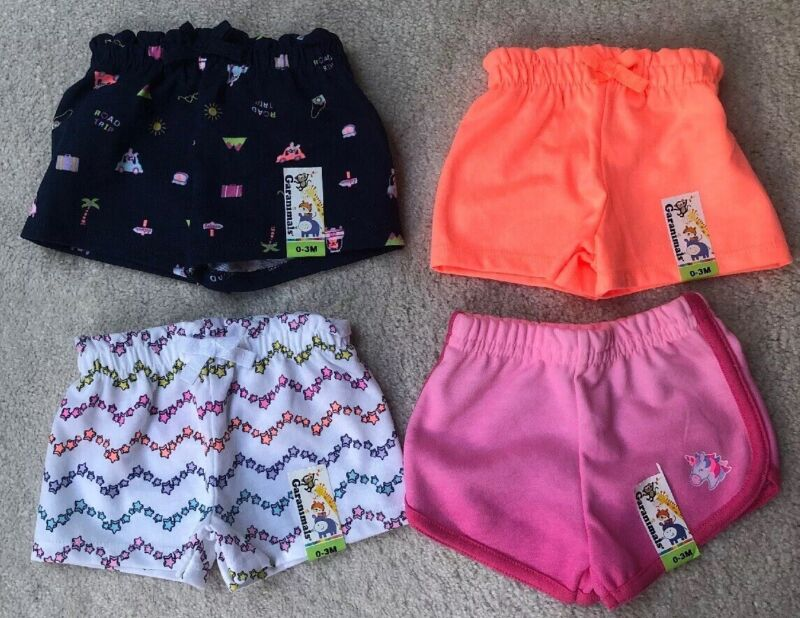 Cute Lots Of 4 Girls Shorts/ Size 0-3 Months/ NWT