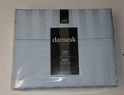 500-Thread-Count Damask Stripe King Size Sheet Set in Light Blue 100% Egyptian  Blue Damask Stripe