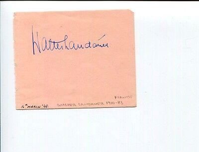 Walter Landauer Famous Pianist   Barry Sinclair Signed Autograph