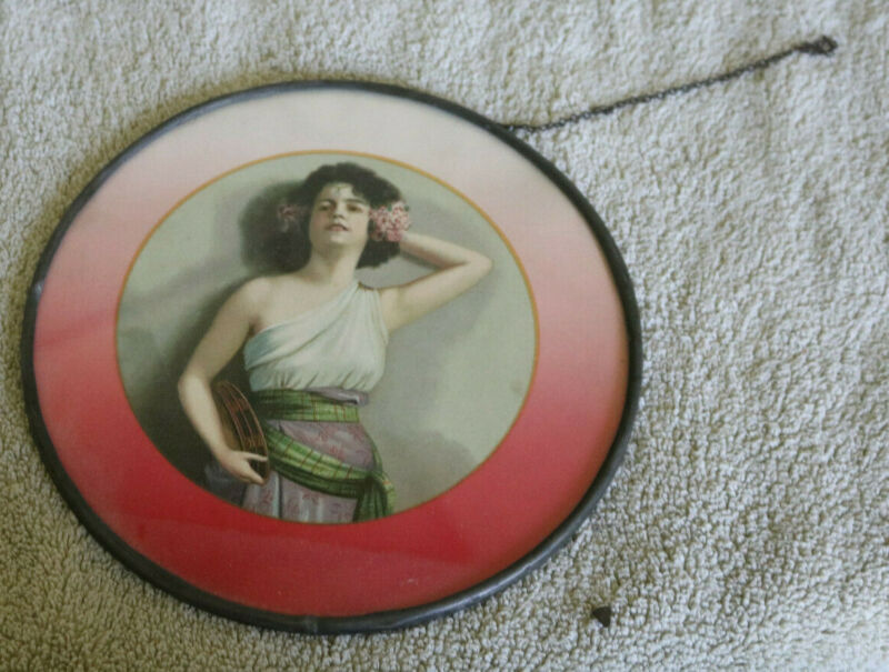 """Vintage 8 in. Round Flue Cover: Beautiful Woman w/bowl, 1920s?, metal """"frame"""""""