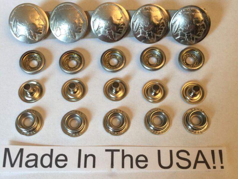 5 Authentic Indian Head Nickel Snaps! Biker  Vest Handmade In USA! Line  24