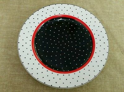 """Fitz and Floyd 7 1/2"""" Dotted Suisse Salad Plate Black & White Polka Dots"""