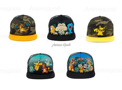 Pokemon Pikachu, Charizard, Group Official Genuine ADULT Snapback Cap *NEW*
