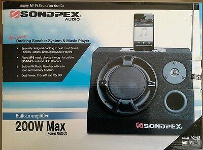 SONDPEX AUDIO 200W DOCKING SPEAKER SYSTEM/FM/MP3 MUSIC PLAYER 110V 12V AMPLIFIER