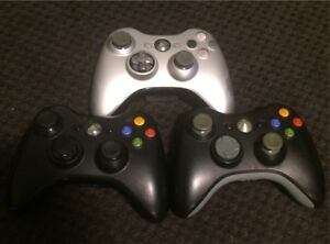 X BOX 360 controllers, battery packs and chargers