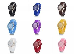 NEW Unisex Geneva Silicone Jelly Gel Quartz Analog Sport Wrist Watch Girls Women