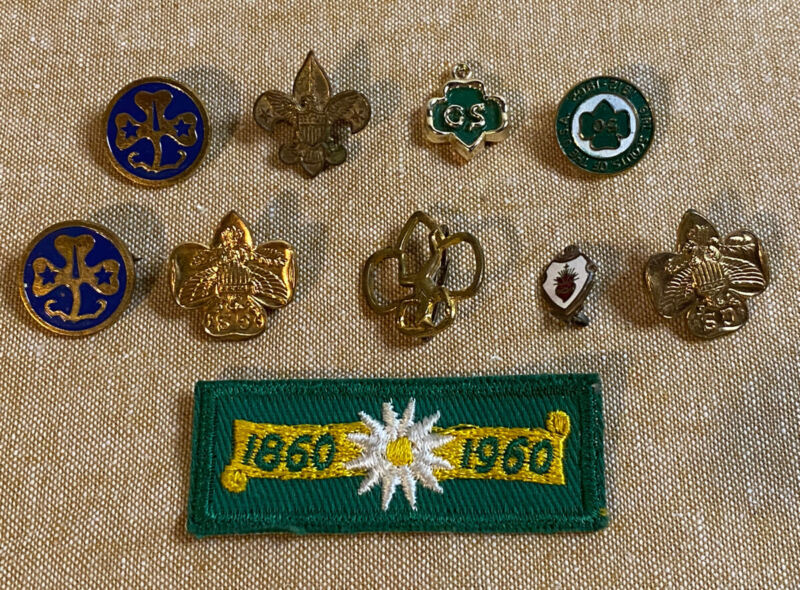 Lot Of 9 Vintage 1960's Girl Scout Pins And One Patch.