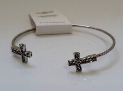 Silver-tone Metal Open bangle Bracelet crystals / Cross accents -