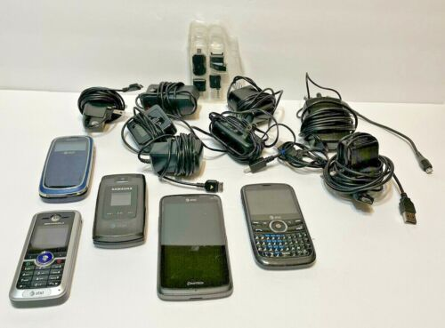 Bundle of 5 Cell Phones Untested 8 Chargers 4 Cords 4 Adaptors For Parts