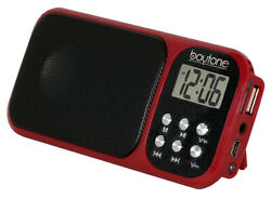Boytone BT-92R Portable FM Radio Alarm Clock with Earphones, Flash light, USB