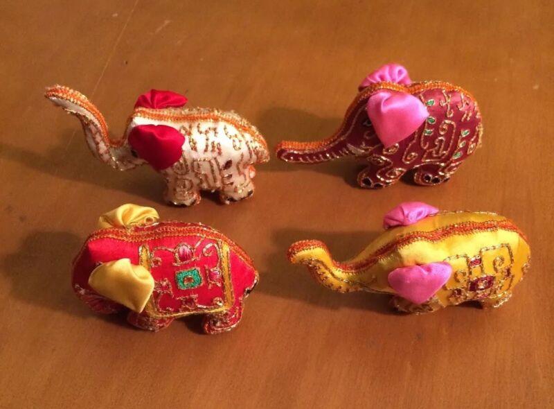 4 Tiny Embroidered Elephant Figures