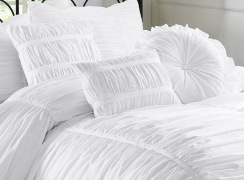 Chezmoi Collection Chic Ruched Ruffle Pleated Textured Comforter Bedding Set 5