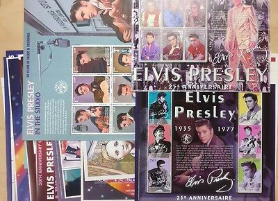 LOT OF 5 ELVIS PRESLEY STAMP SHEETS AND SOUVENIR SHEETS, MNH