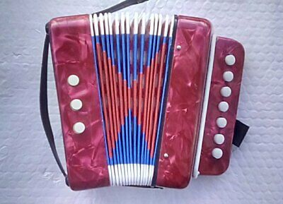 Child's Button Accordion In Working Condition - Red - Free UK P&P