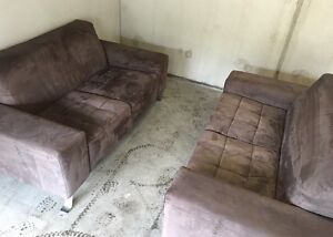2 X Modern Identical Sofas - in brown suede Port Melbourne Port Phillip Preview