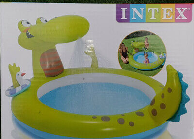 NEW DINOSAUR INFLATABLE PADDLING POOL WITH WATER SPRAY FUN OUTDOORS GARDEN INTEX