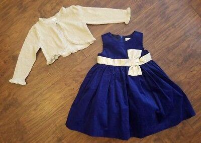 Gymboree Holiday Blue Velvet Dress & Gold Cardigan 18-24 Mos NWT $73 Retail ()